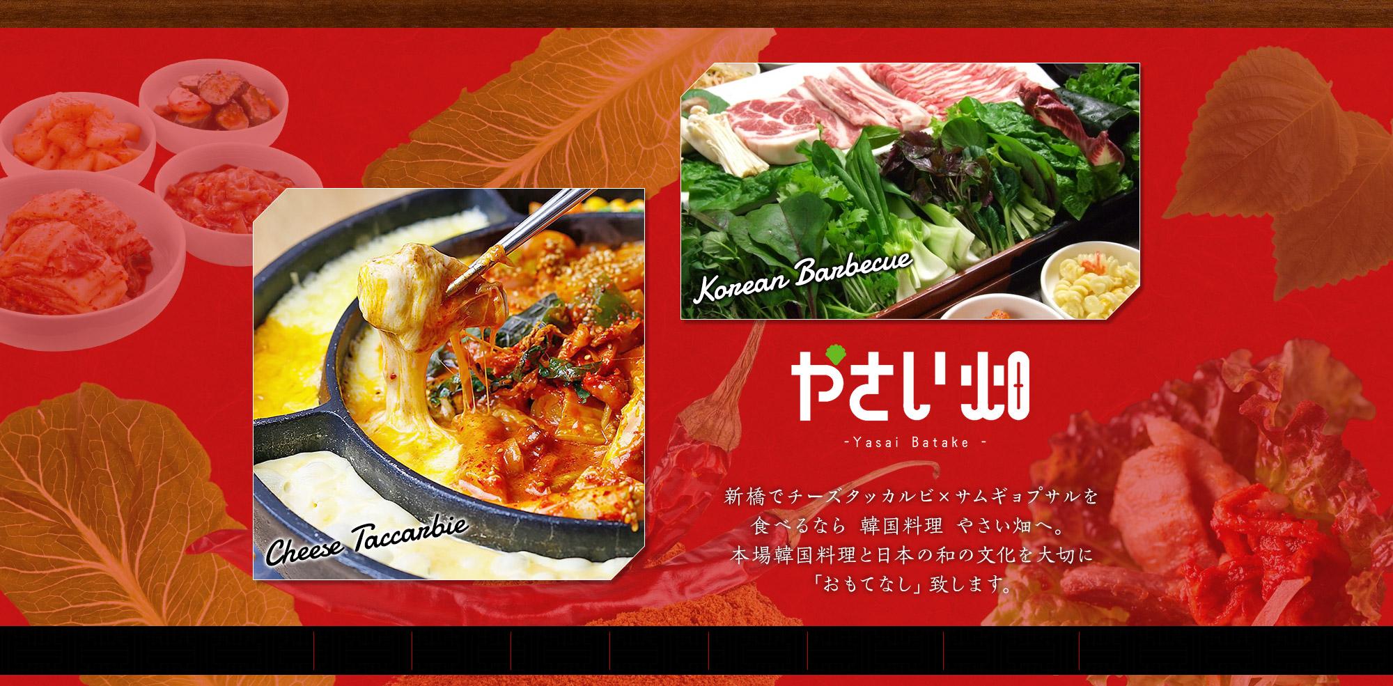 新橋でチーズタッカルビ×サムギョプサルを食べるなら韓国料理 やさい畑へ。本場韓国料理と日本の和の文化を大切に「おもてなし」致します。